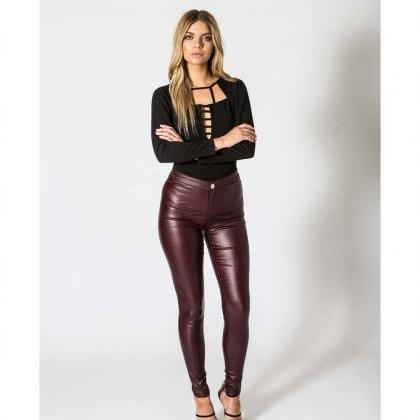 Hot Sales High Waist Skinny PU Penc..