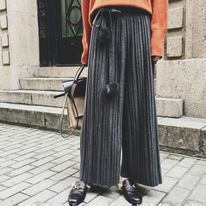 High Waist Woolen Pleated Wide-Legg..
