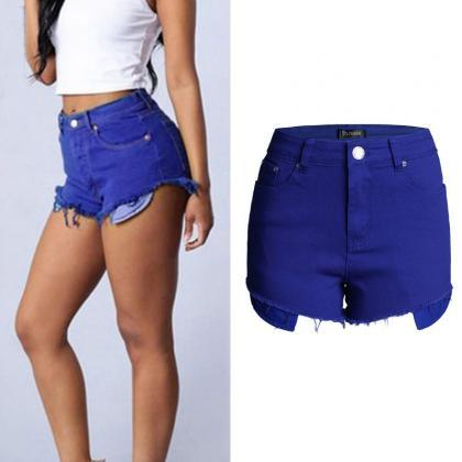 High Waist Candy Color Women's Slim..