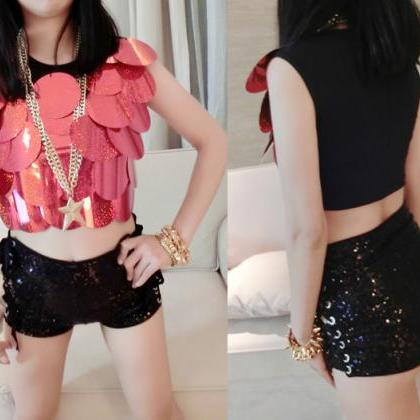 High Waist Sequins Side Lace Up Dan..