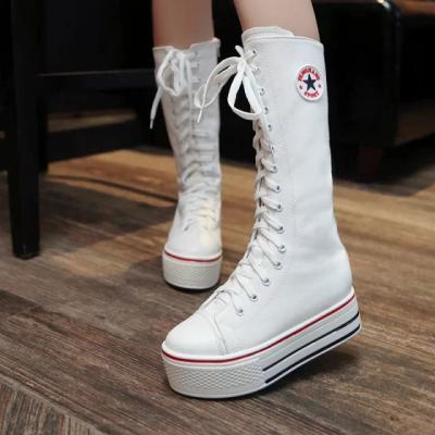 Canvas Lace Up Flat Round Toe Half Sneaker Boots