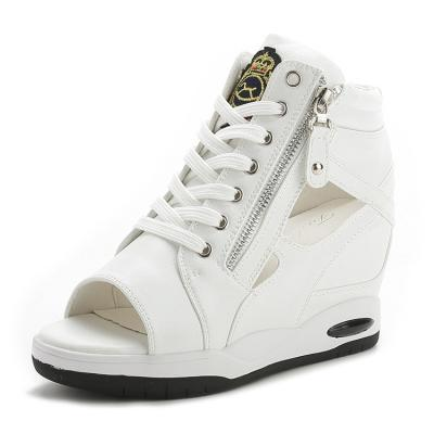 Peep Toe Sporty Wedge Sneakers with Cutouts and Side Zippers