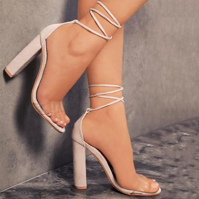 Faux Suede Lace-Up Chunky Heel Sandals Featuring Transparent Slender Toe Straps