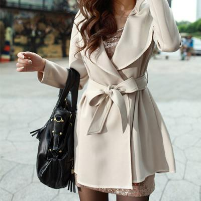 OL Style Sash Lapel Pure Color Trench Coat