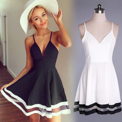 Stitching Mini Strap Dress
