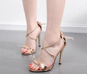 Metallic Open-Toe Cr..