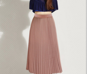 Solid Pleated Long S..