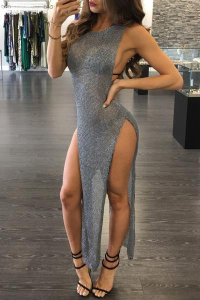 Pure Color Transparent Long Split Party Club Dress