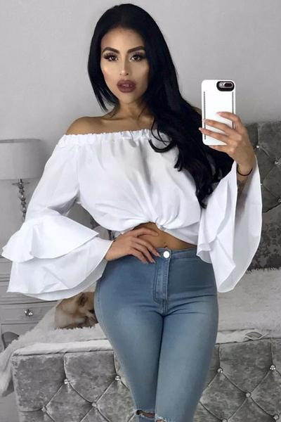 Pure Color Off Shoulder Loose Trumpet Sleeves Irregular Chiffon Blouse