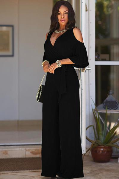 Pure Color V-neck Straps Wide-legs Long Jumpsuit
