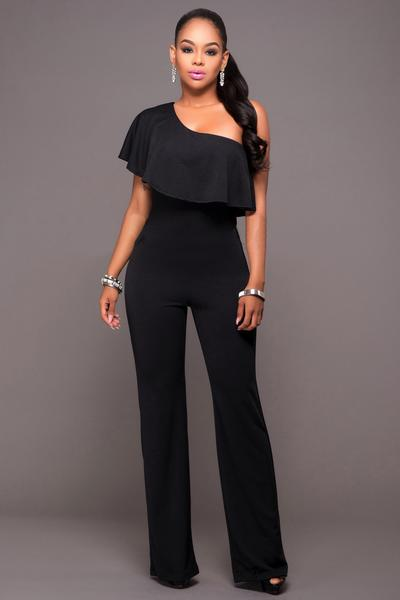 Pure Color One Shoulder Ruffles Long Jumpsuit