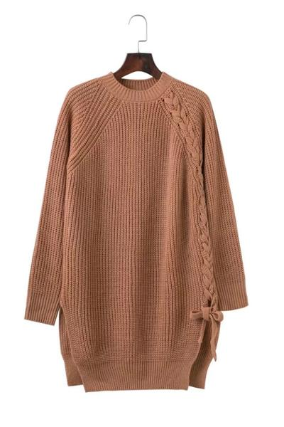 Scoop Pure Color Long Sleeves Long Split Sweater