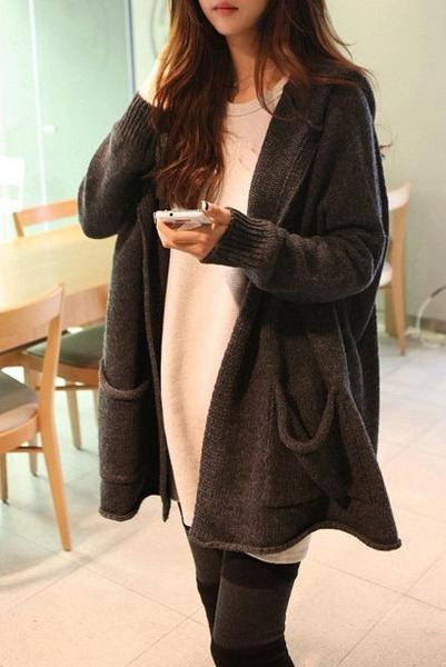 Pure Color Long Sleeves V-neck Long Hooded Cardigan