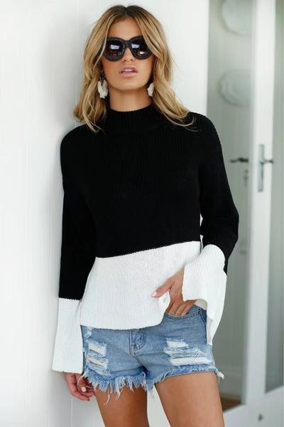 Colour Block Knitted Mock Neck Long Flared Sleeves Sweater