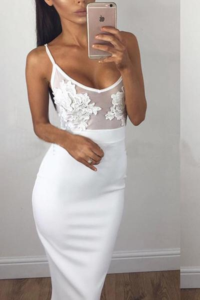 Spaghetti Straps Bodycon Lace Long Dress