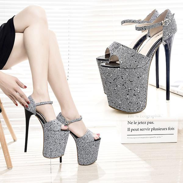 Heel Peep-toe Summer Ankle Strap PU Stiletto Sandals