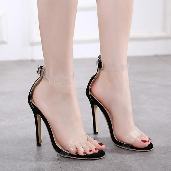 38291af1875 Open-Toe Transparent Ankle Strap Stilettos