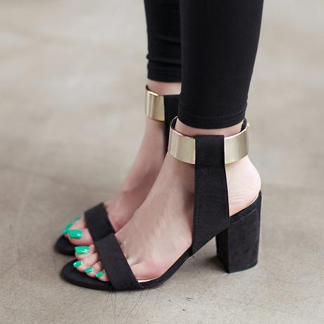 Metal Decorate Chunky Heel Peep-toe Summer PU Ankle Strap Sandals