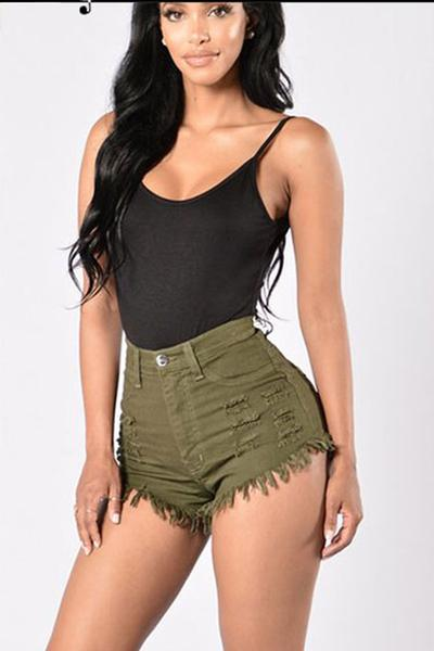 Denim Pure Color High Waist Rough Edge Slim Shorts