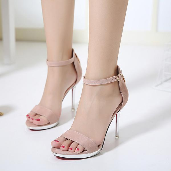 499fbc2fb94 Faux Suede Ankle Straps High Heel Sandals Featuring Transparent Stilettos