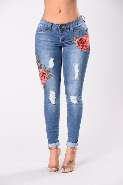 Flower Embroidery Curled Edge Long Skinny Jeans