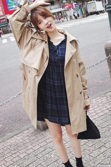 Lapel Collar Double Breasted Hasp Strap Belt Long Loose Coat