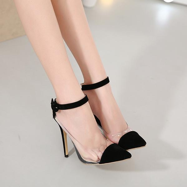 9c15ee45920 Pointed Toe Ankle Wrap Transparent Stiletto Heels Prom Shoes on Luulla