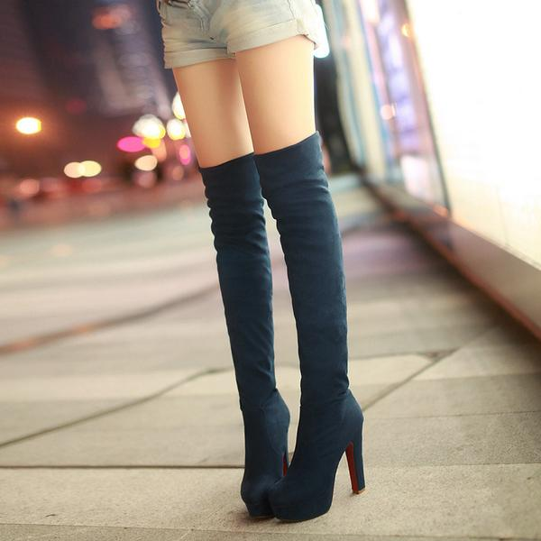 Solid Color Suede Slim Over-knee Long Heels Boots