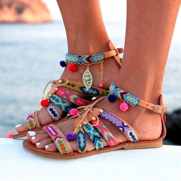 Colorful Bohemian Ball Decorate Open Toe Ankle Wrap Flat Sandals