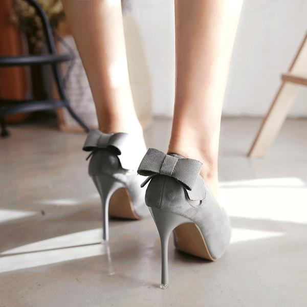 5c4ca11b8ba Solid Color Back Bowknot Decorate Pointed Toe Stiletto High Heels Party  Shoes