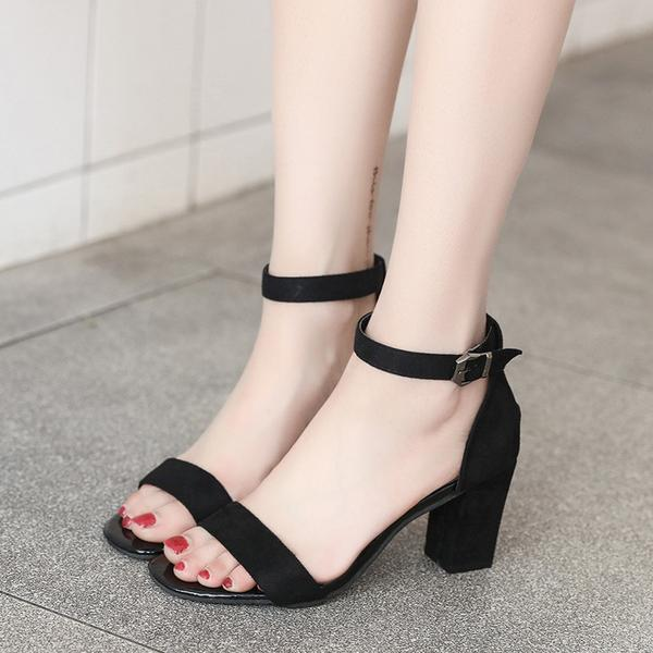 Suede Open Toe Ankle Wrap Chunky High Heels Sandals