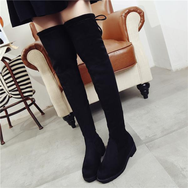 Back Lace Up Round Toe Flat Over-knee Long Boots