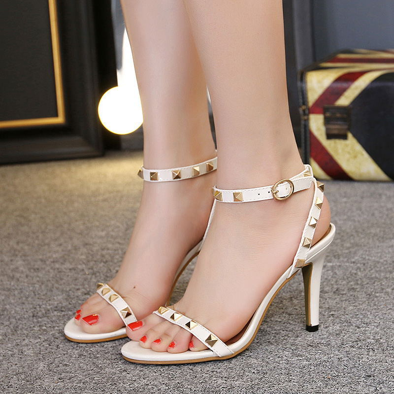 Pyramid Studded High Heel Sandals with Ankle Straps