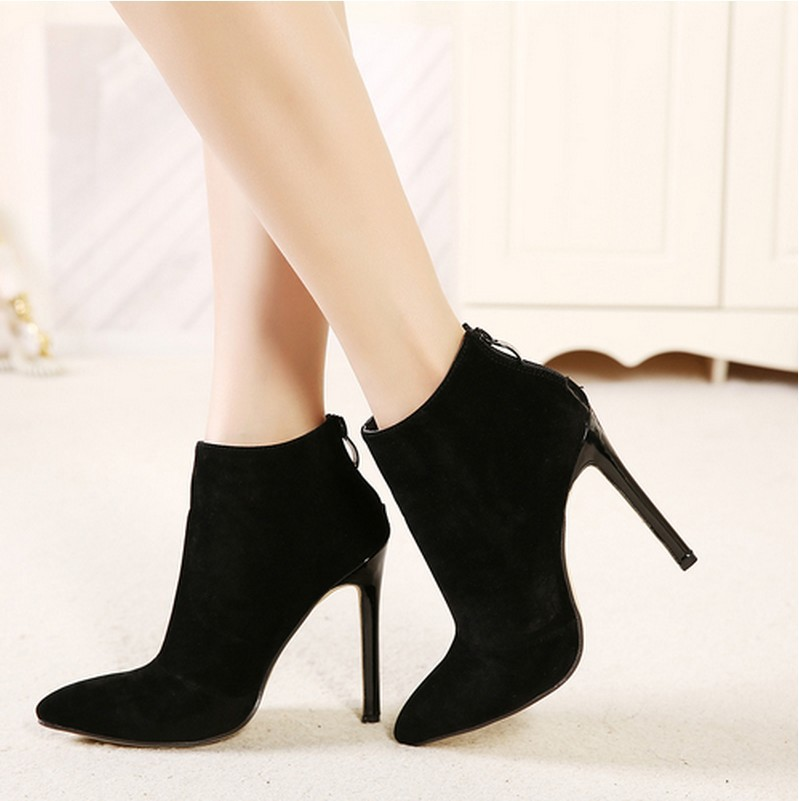 Faux Suede Pointed-Toe High Heel Ankle Boots Featuring Back Zipper