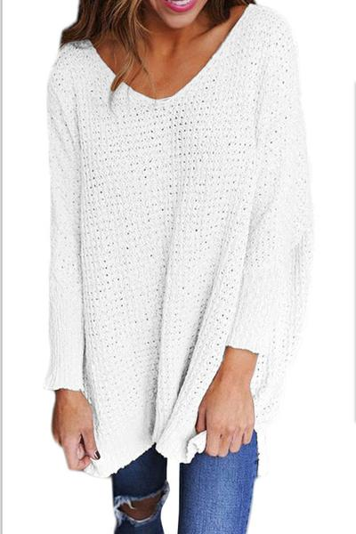 Solid Color V-neck Loose Long Pullover Sweater