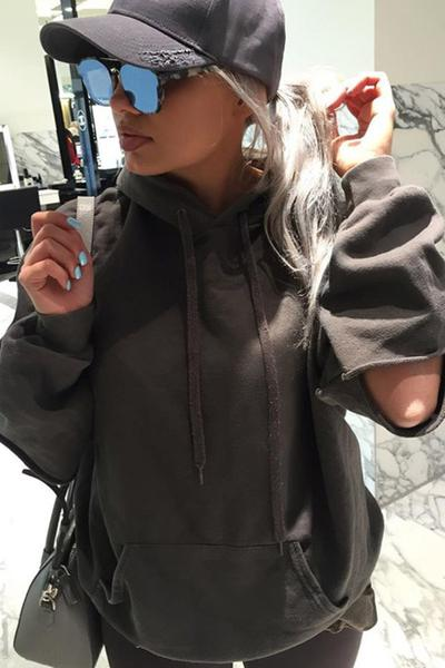 Pure Color Cut Out Long Sleeves Loose Sport Hoodies