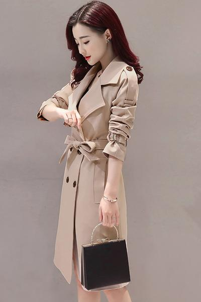 Simple Style Pure Color Lapel Belt Slim Long Coat