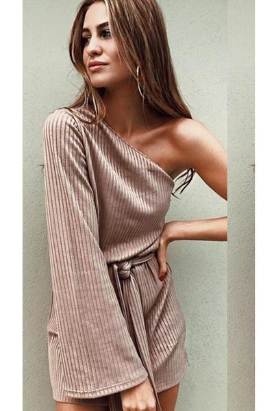 One Shoulder Long Trumpet Sleeve Loose Short Dress