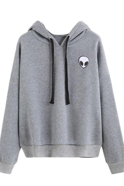 Alien Head Print Drawstring Loose Hoodie