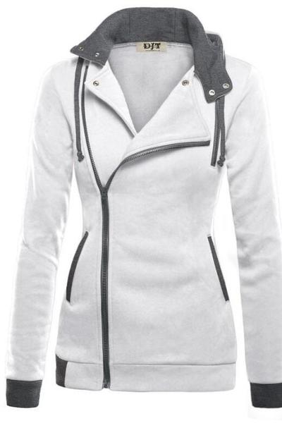 Side Zipper High Neck Patchwork Slim Hoodie Coat