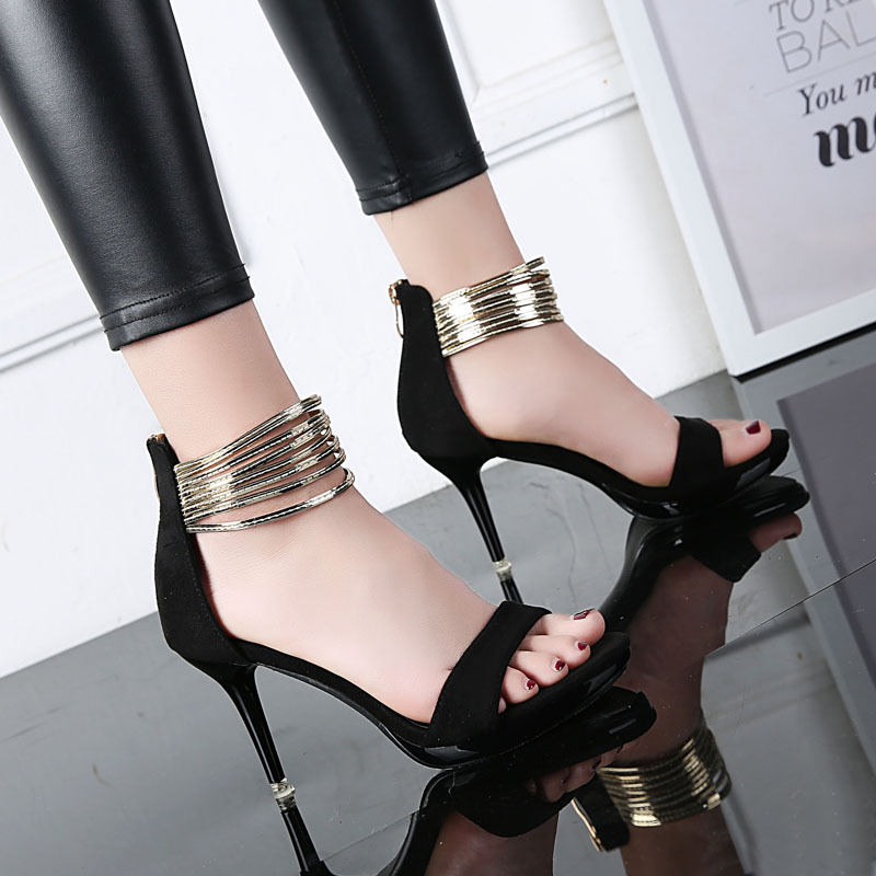 Pure Color PU Stiletto Heel Zipper Peep-toe High Heels
