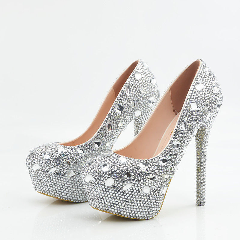 e321fcdcda Crystal Rhinestones Round Toe Platform Super High Stiletto Heels ...