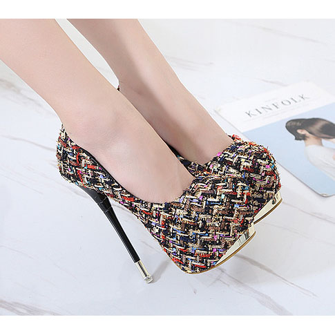 Righteous Patchwork Stiletto Heel Round Toe High Heels