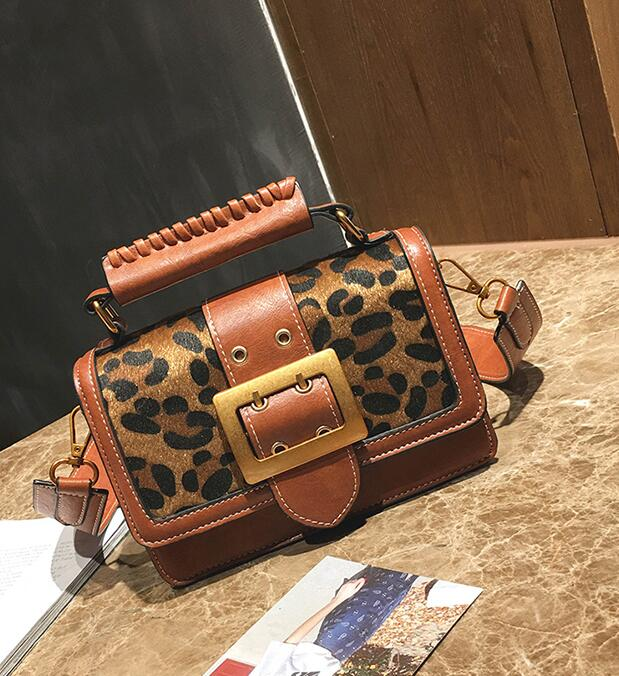 Belt-Decorated Leopard Pattern Women Satchel