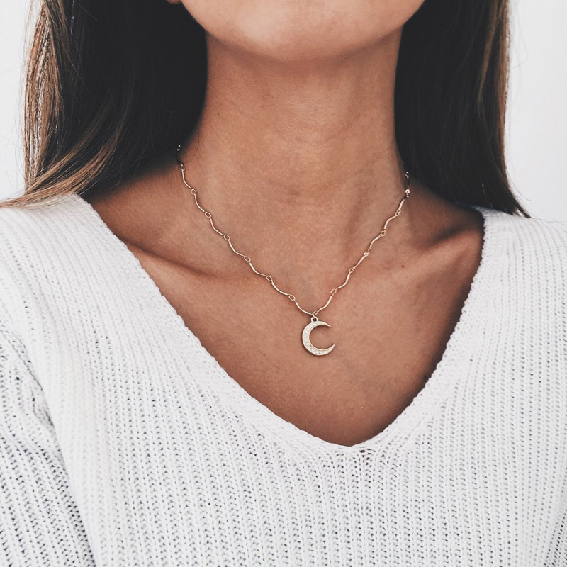Fashion Full Drill Moon Necklace