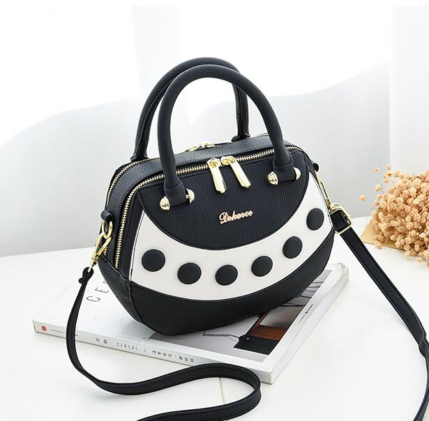Graceful Color Block Zipper PU Satchel