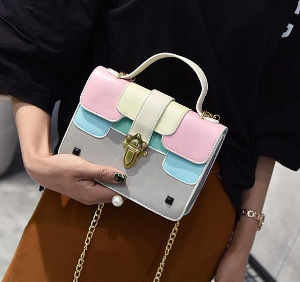 Lovely Color Block Chain Crossbody Bag