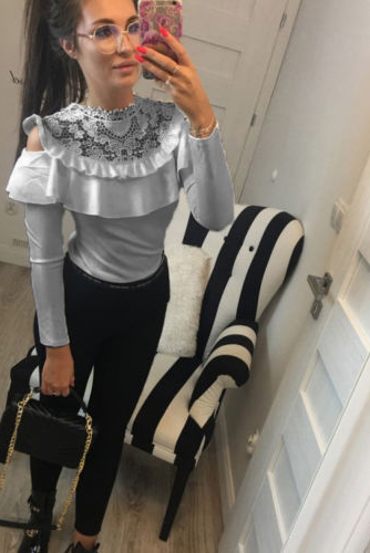 Lace Falbala Pure Color Long Sleeves Slim Blouse