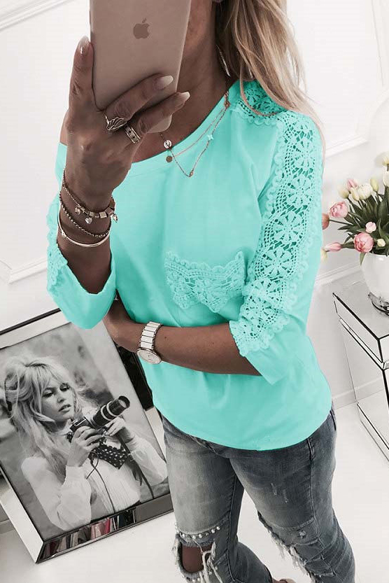 Lace Scoop Patchwork Loose Candy Color Blouse