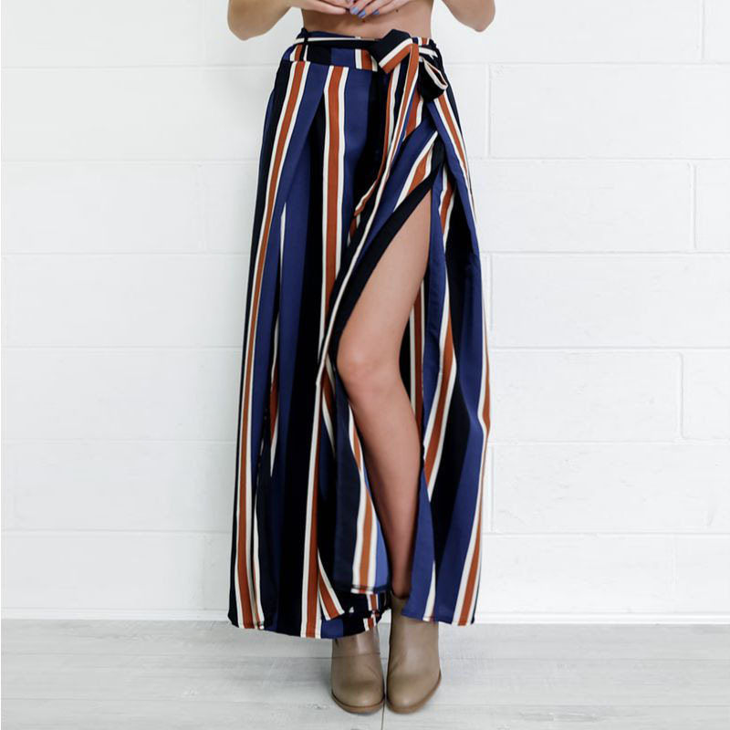 BowKnot Strap High Waist Stripe Loose Wide-leg Long Pants